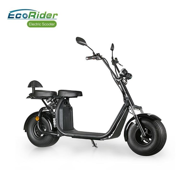 40KM / H Black Color 2 Wheel Electric Scooter Citycoco Fat Tire Strong Construction